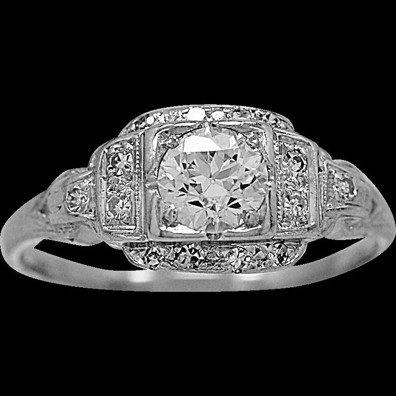 Antique Engagement Ring .58ct. Diamond & Platinum Art Deco - J34551