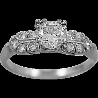 Vintage Engagement Ring .70ct. Diamond & Platinum - J34596