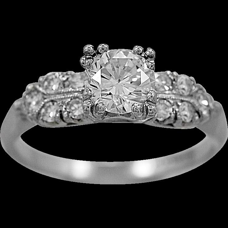 Art Deco Engagement Ring .70ct. Diamond & Platinum - J34596