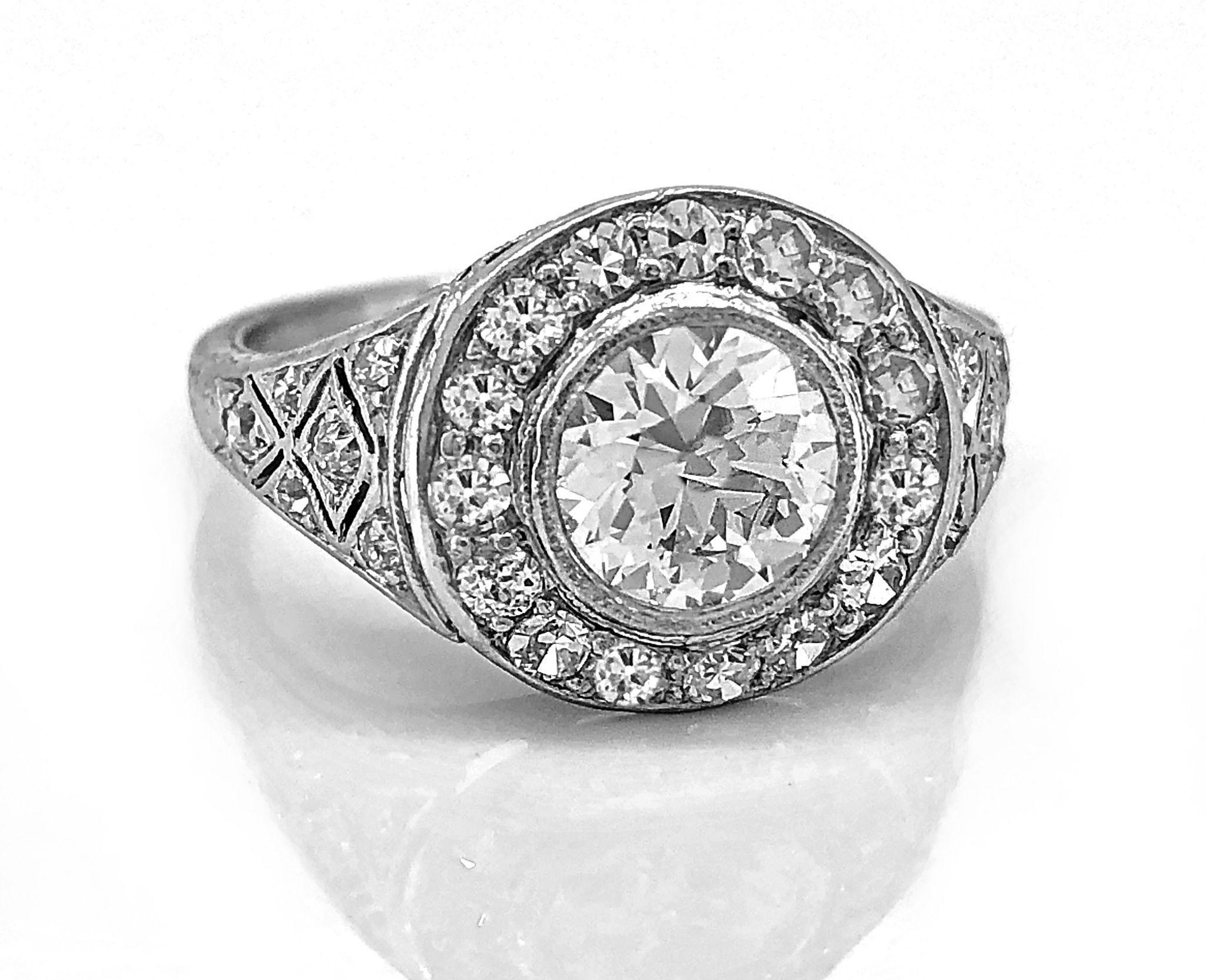 1.02ct. Diamond & Platinum Art Deco Engagement Ring- J34640