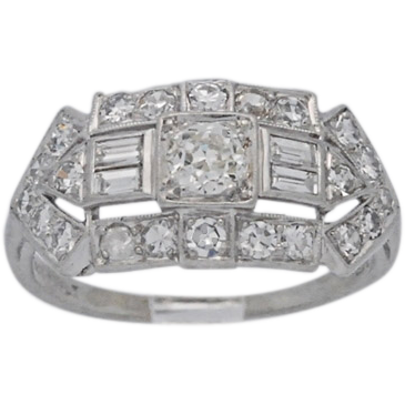 .22ct. Diamond & Platinum Art Deco Engagement Ring - J34658