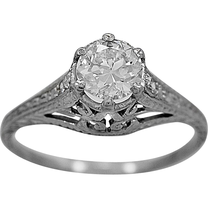 Antique Engagement Ring .65ct. Diamond & Platinum Art Deco- J34646
