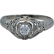 Art Deco .21ct. Diamond & 18K White Gold Engagement Ring - J34679