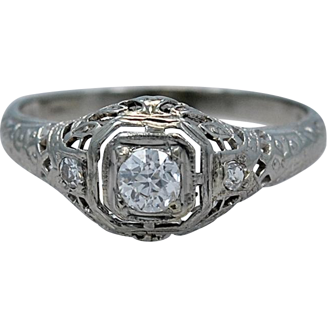 Art Deco .21ct. Diamond & 18K White Gold Engagement Ring - J34679