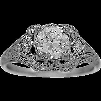 Antique Engagement Ring .84ct. Diamond & Platinum Art Deco - J34720