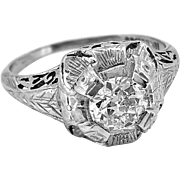 Art Deco .65ct. Diamond & 18K White Gold Engagement Ring By Belais - J34749