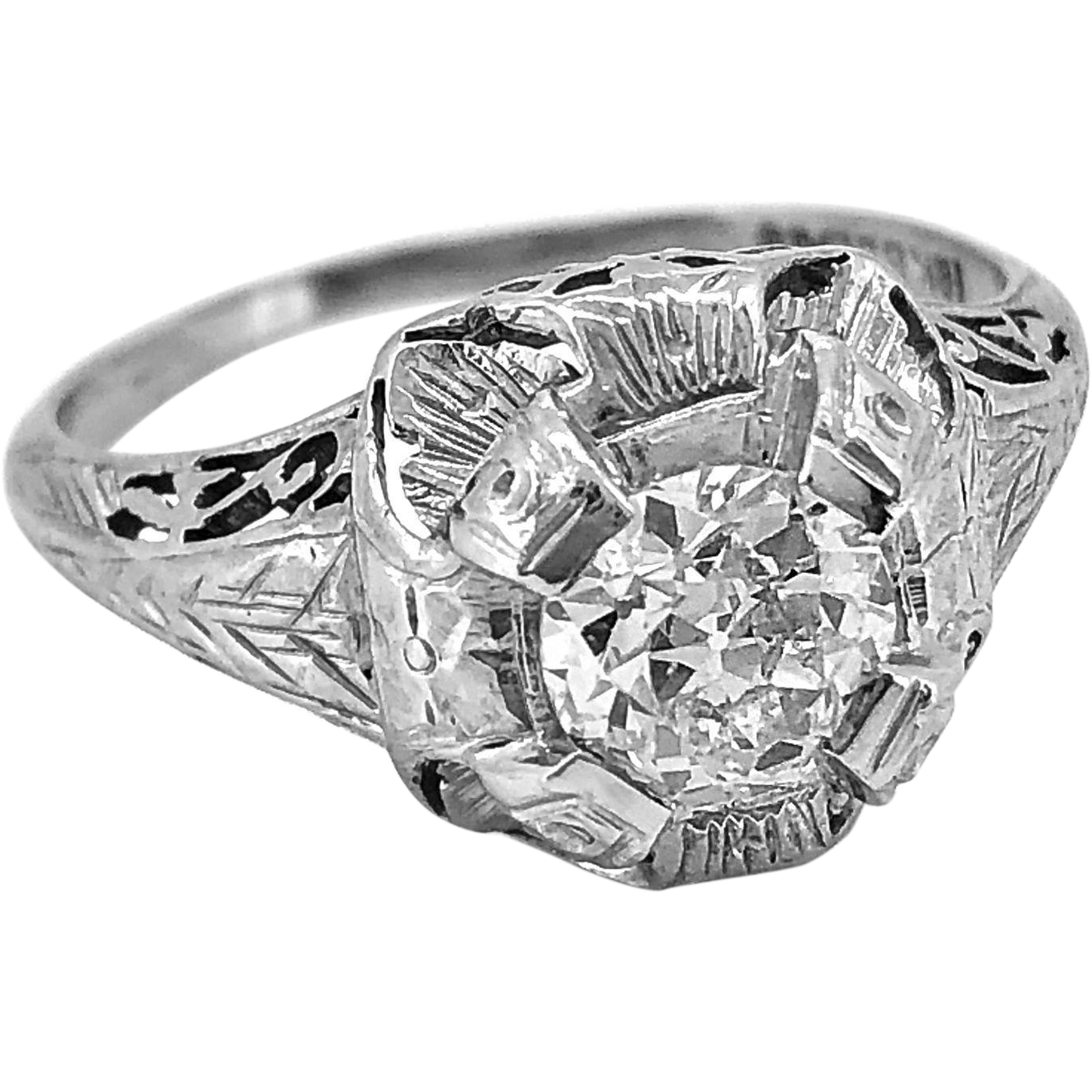 Art Deco .85ct. Diamond & 18K White Gold Engagement Ring By Belais - J34749