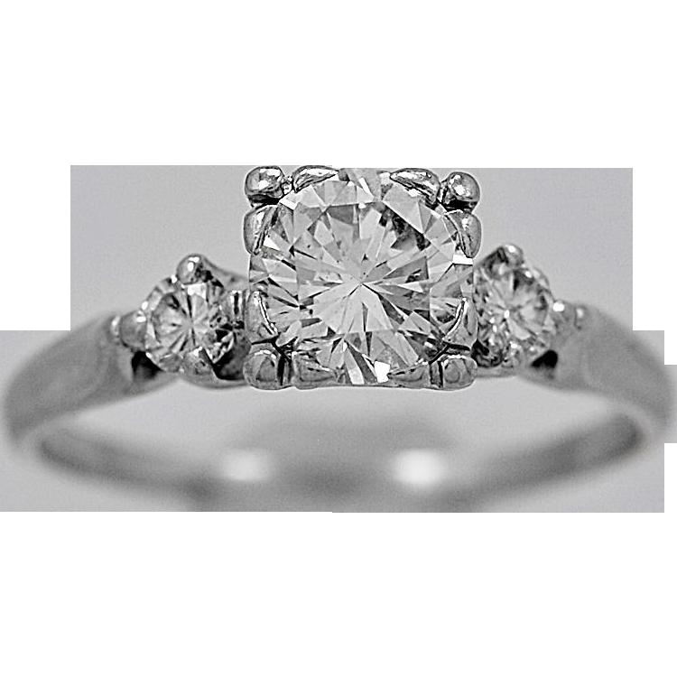 Antique Engagement Ring 1.05ct. Diamond Platinum Art Deco - J34788