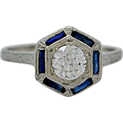 Platinum Art Deco .54ct. Diamond & Sapphire Engagement Ring - J34794