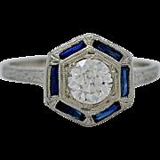 Platinum Art Deco .54ct. Diamond & Sapphire Engagement Ring - J34794