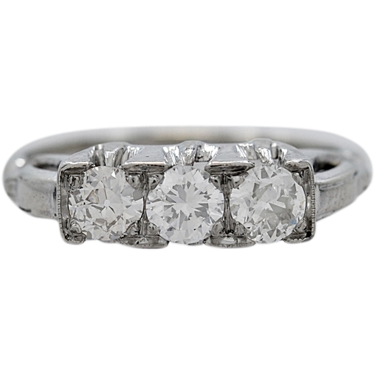 Art Deco 14K White Gold .60ct. T.W. Diamond Engagement Ring - J34804