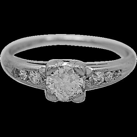 Platinum .39ct. Diamond Engagement Ring Art Deco - J34818