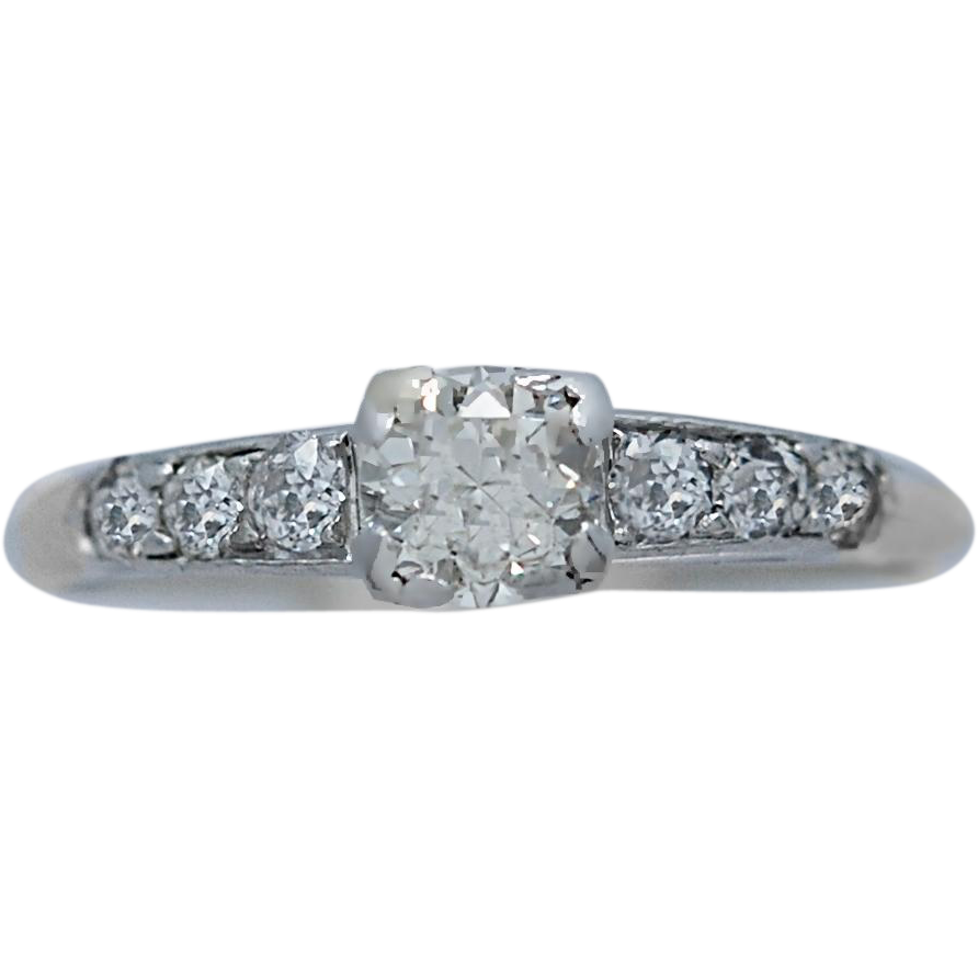 Platinum Art Deco Antique Engagement Ring .50ct. Diamond
