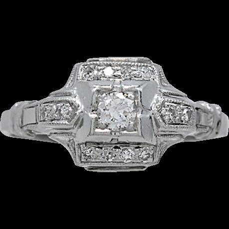 Art Deco Platinum .10ct. Diamond Engagement Ring - J34828