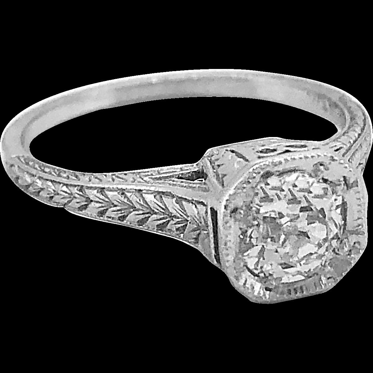 Art Deco .58ct. Diamond Platinum Engagement Ring - J34856