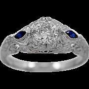 Sapphire Engagement Ring Art Deco .52ct. Diamond 18K White Gold - J34875