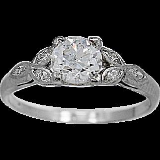 Antique Engagement Ring .75ct. Diamond, Platinum Art Deco -  J34880