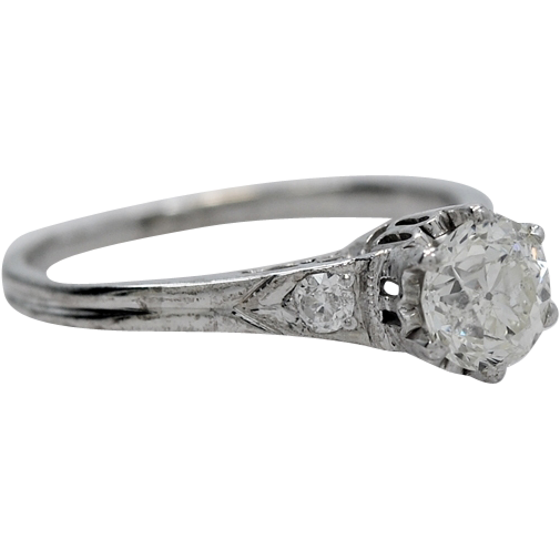 18K White Gold .50ct. Diamond Art Deco Engagement Ring - J34882