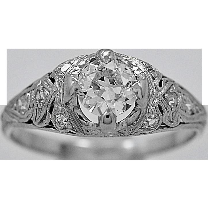 Antique Engagement Ring .45ct. Diamond Platinum Art Deco - J34885