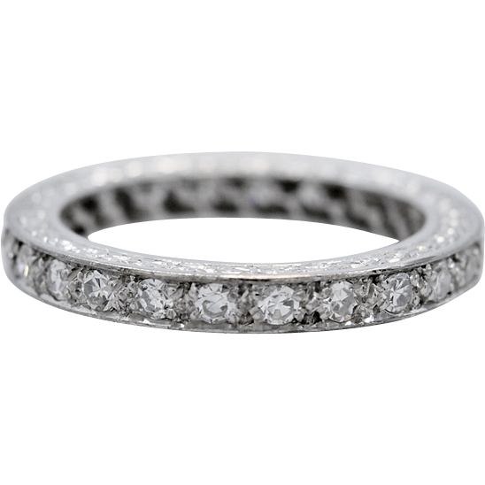 Art Deco 18K White Gold .75ct. T.W. Diamond Eternity Band - J34892
