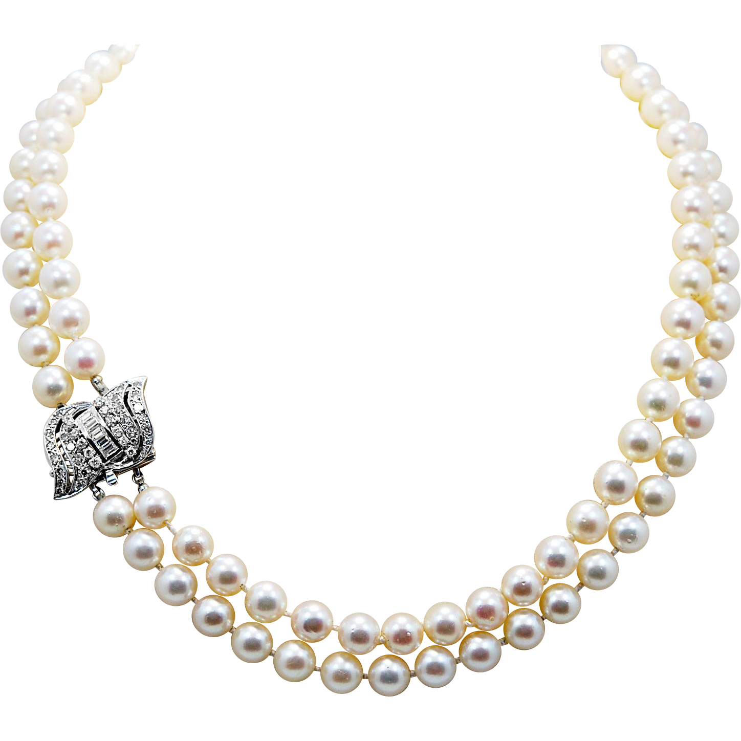 8-8.5MM Cultured Pearl Double Strand Vintage Necklace - J34897