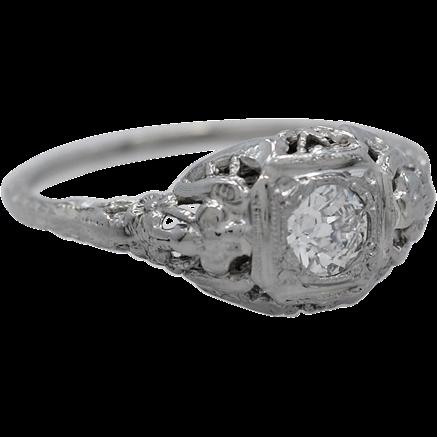 Art Deco .25ct. Diamond 18K White Gold Engagement Ring - J34901