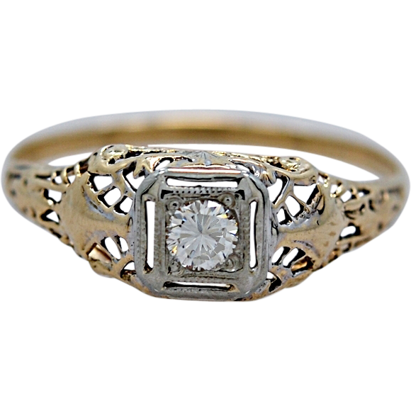 Engagement Ring Art Deco Yellow/White Gold .13ct. Diamond - J34922