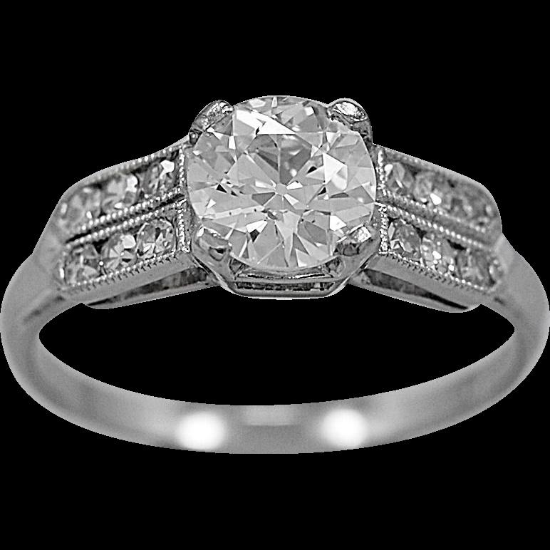 Antique Engagement Ring .95ct. Diamond & Platinum Art Deco - J35865
