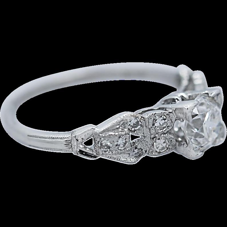 .60ct. Diamond Art Deco Antique Engagement Ring Platinum