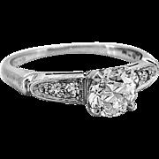 Art Deco .70ct. Diamond Platinum Engagement Ring - J34994