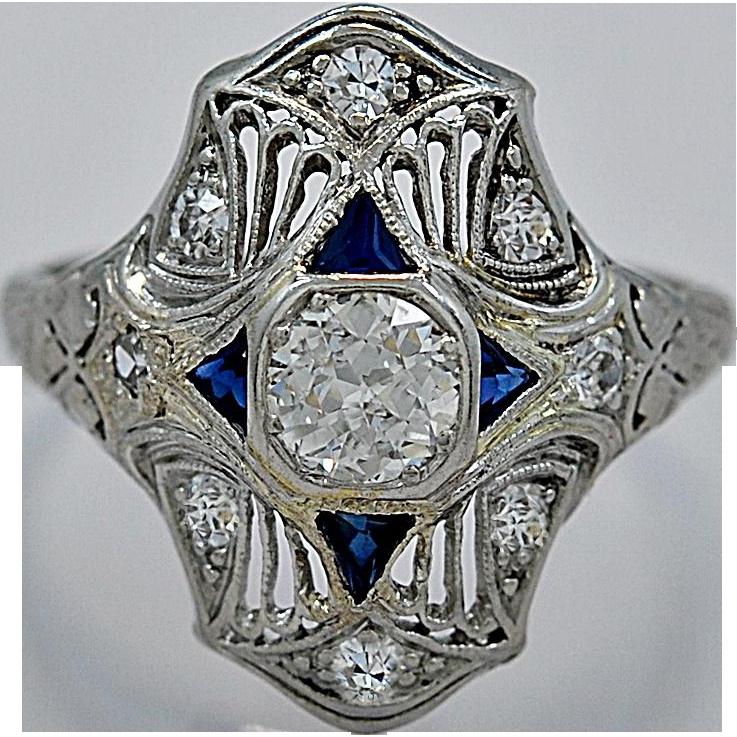 Art Deco .40ct. Diamond, Sapphire & Platinum Engagement/Fashion Ring - J35022