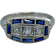 Art Deco 18K .50ct. apx. T.W. Sapphire & Diamond Engagement/Fashion Ring - J35023
