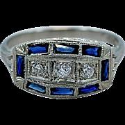 Art Deco 18K .50ct. apx. T.W. Sapphire & Diamond Engagement/Fashion Ring - J35023