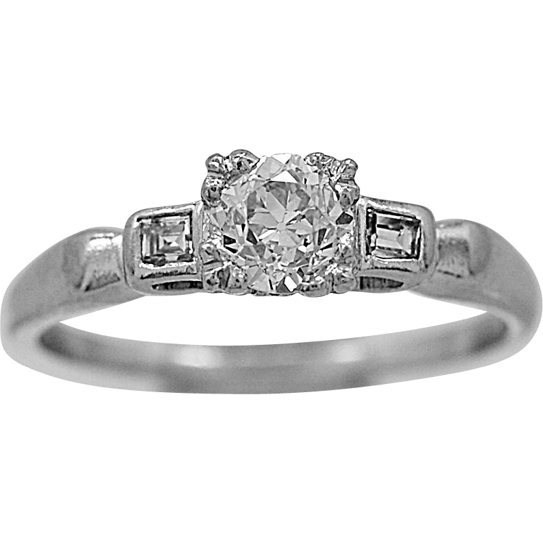 Antique Engagement Ring .31ct. Diamond & Platinum Art Deco - J35025