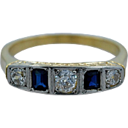 Art Deco .20ct. apx. Natural Sapphire & .33ct. apx. T.W. Diamond Engagement/Fashion Ring - J35044