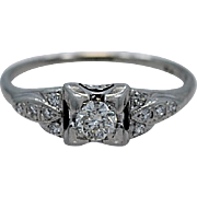 Art Deco .18ct. Diamond & Platinum Engagement Ring - J35049