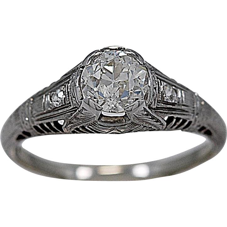 .77ct. Diamond 18K White Gold Art Deco Engagement Ring - J35050