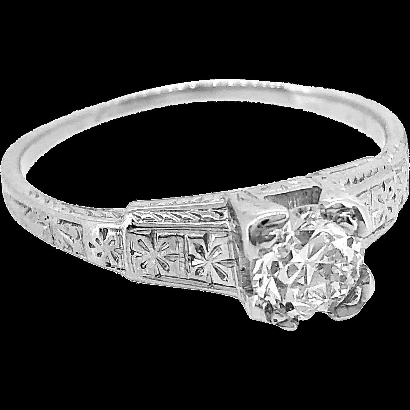 Antique Engagement Ring .55ct. Diamond & 18K White Gold - J35059