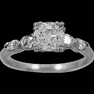 Antique Engagement Ring Platinum & 1.05ct. Diamond Art Deco - J35082