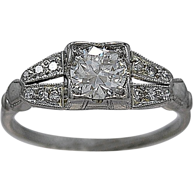 Art Deco .50ct. Diamond Platinum Engagement Ring - J35086