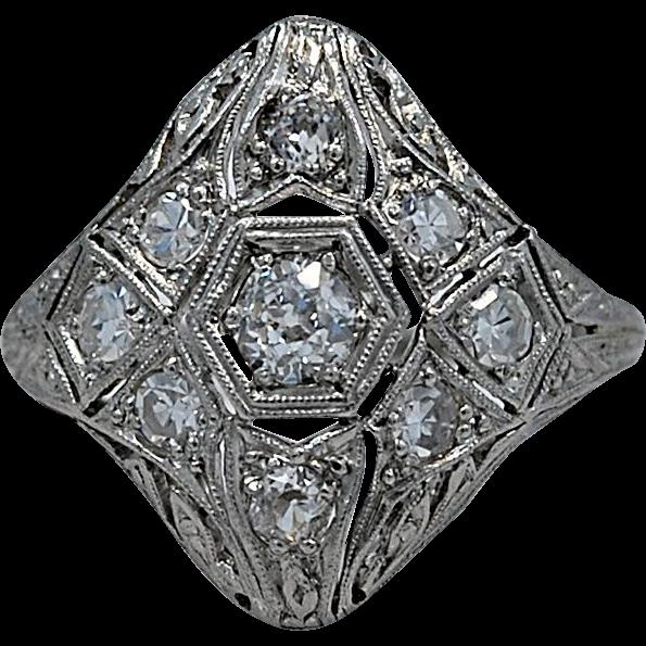 Art Deco .23ct. Diamond & Platinum Fashion Ring - J35097