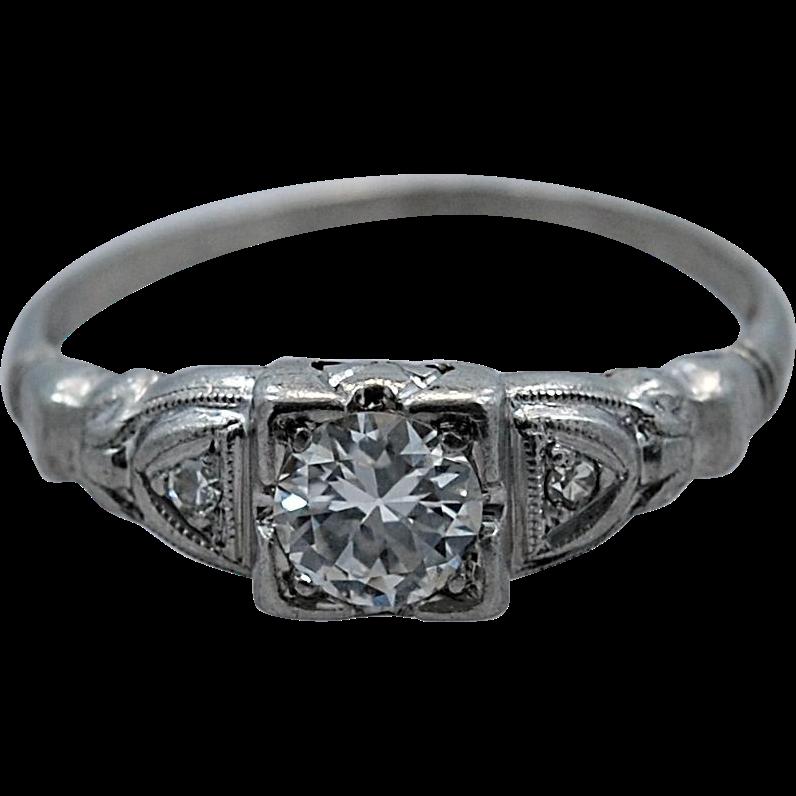 Platinum & .33ct. Diamond Art Deco Engagement Ring - J35102