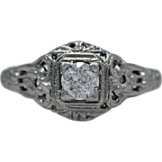 18K White Gold & .35ct. Diamond Art Deco Engagement Ring - J35107