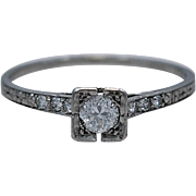 Art Deco .24ct. Diamond & Platinum Engagement Ring By Lambert Brothers - J35174