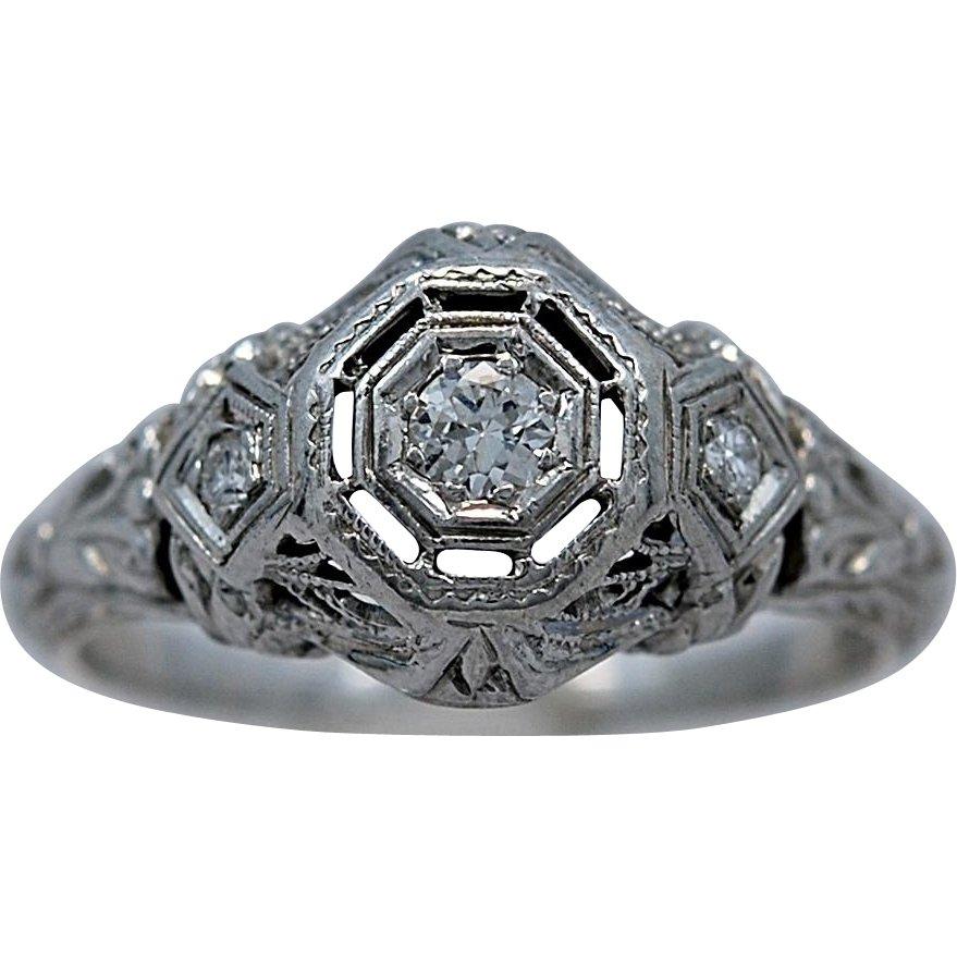 Art Deco .08ct. Diamond & 18K White Gold Engagement Ring - J35179