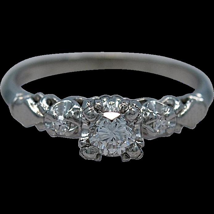 Art Deco .26ct. Diamond & Platinum Engagement Ring - J35218