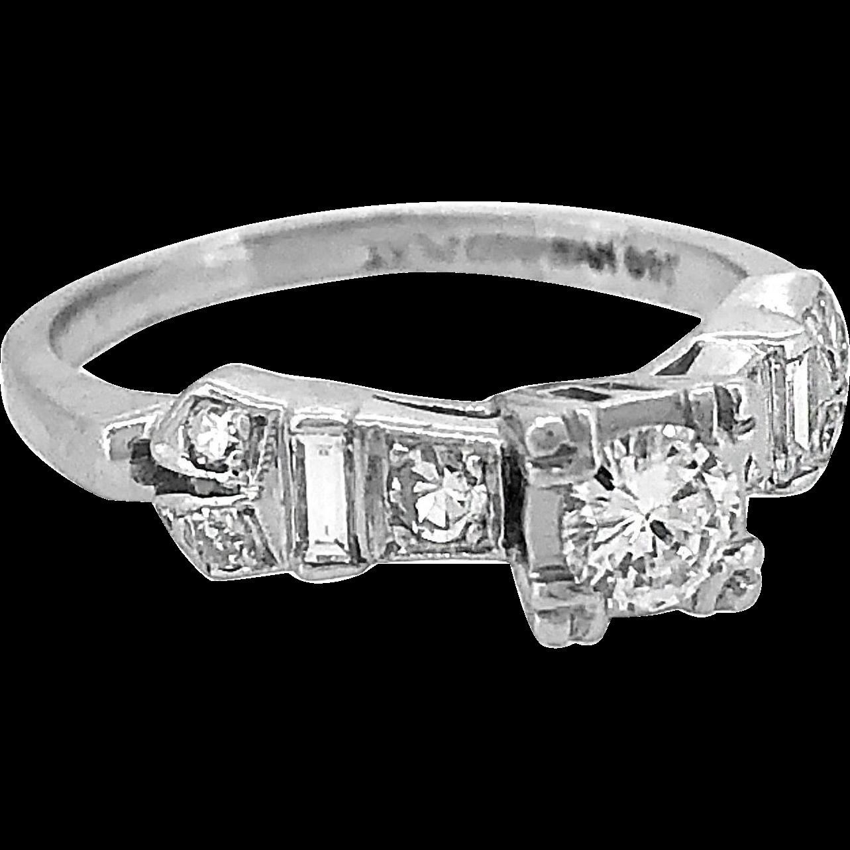 Art Deco Style .20ct. Diamond & Platinum Engagement Ring c. 1950's - J35228