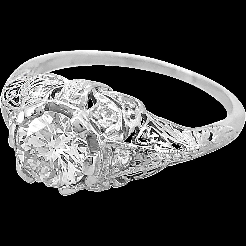 Art Deco .94ct. Diamond & Platinum Engagement Ring - J35233