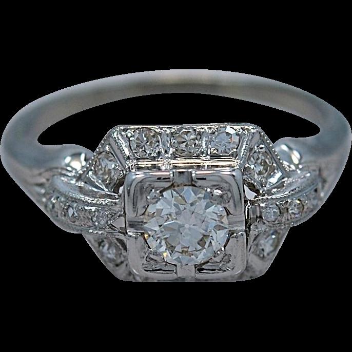 .35ct. Diamond & 18K White Gold Art Deco Engagement Ring - J35238