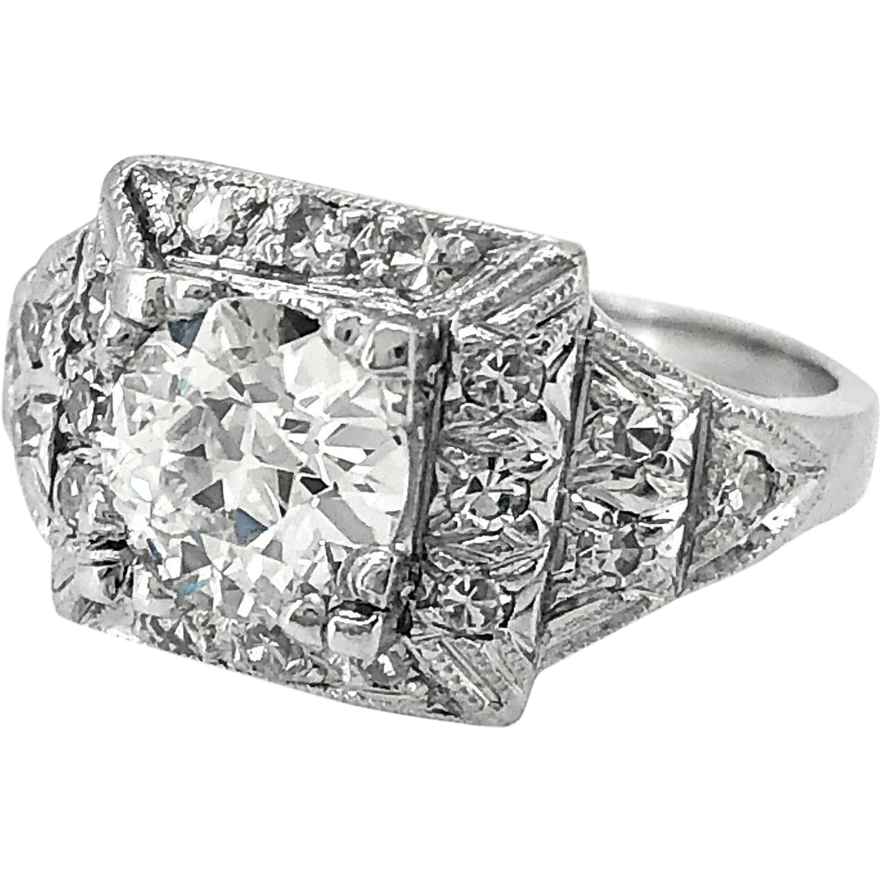 1.23ct. Diamond & Platinum Art Deco Engagement Ring - J35240